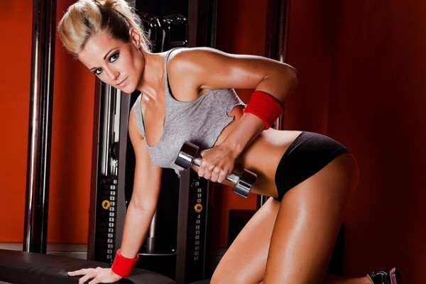 Sexy workout with dumbbells