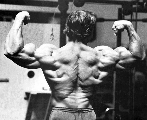 Arnold Classic Workout - 3D geographical map on his back