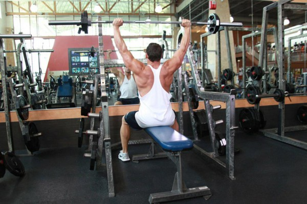 Shoulder Barbell Press lifting with exhale
