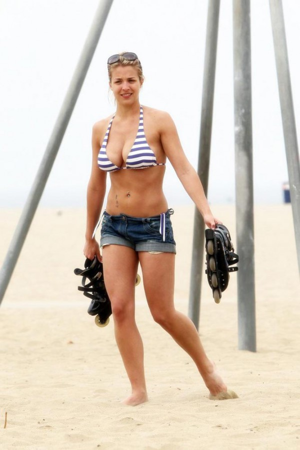 Gemma Atkinson bikini and short jeans