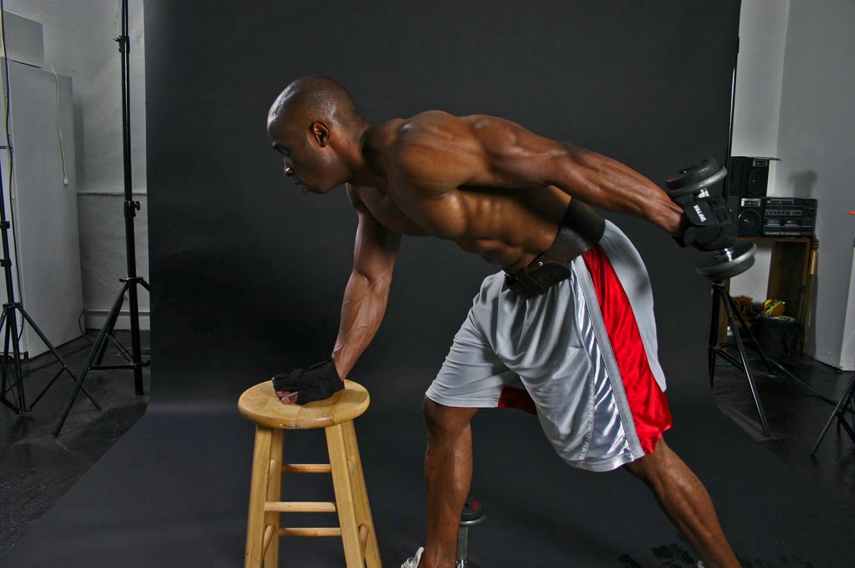 Triceps workout dumbbell kickback train body and mind