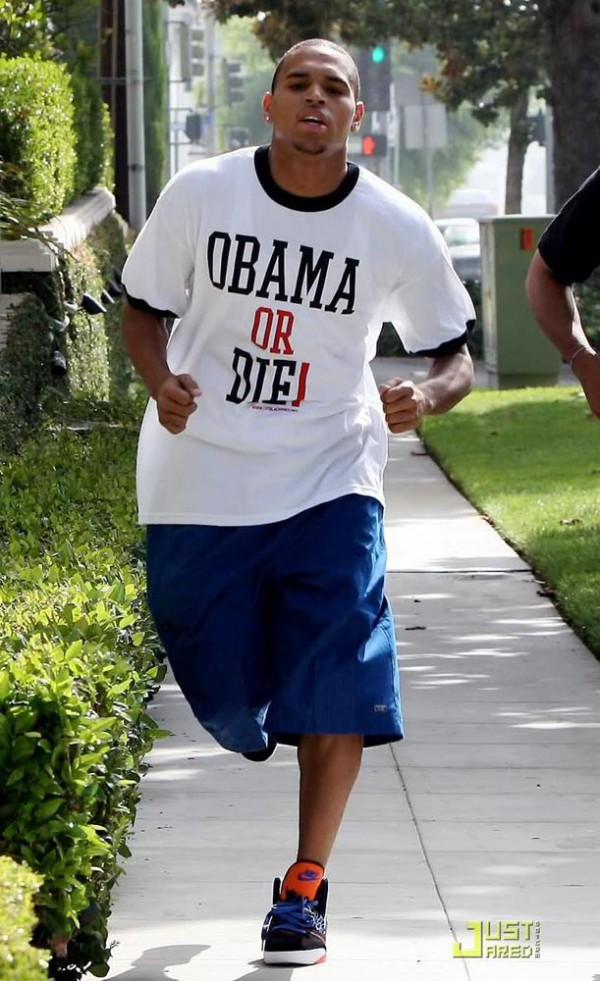 Chris Brown jogging