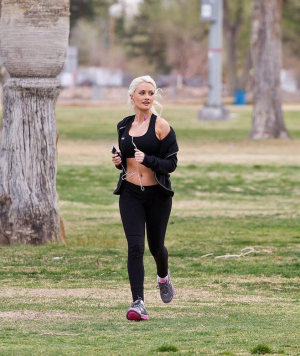 Holly Madison working out in the Park