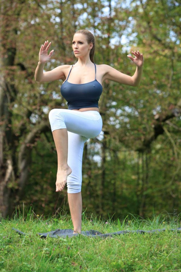Jordan Carver doing Yoga