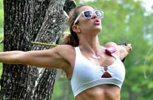 Jennifer Nicole Lee stretching in the Park