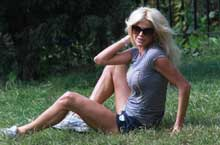 Victoria Silvstedt Stretches in the Park