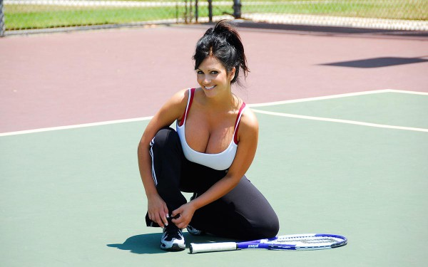 Denise Milani playing Tennis